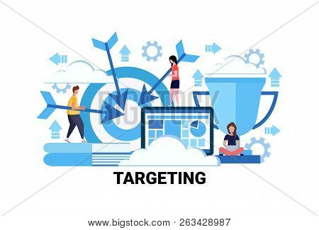 Target Business Goal Targeting Concept Flat Horizontal Successful Teamwork Strategy