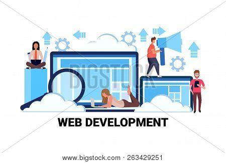 Web Development Concept Successful Teamwork Strategy Horizontal Flat