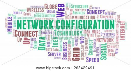 Network Configuration word cloud. Word cloud made with text only. poster