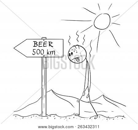 Cartoon Stick Drawing Conceptual Illustration Of Man Walking Thirsty Without Water Through Hot Deser