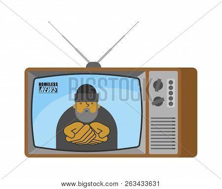 Homeless News Old Tv. Beggar Broadcasting Journalist. Pauper Anchorman In Tv Studio. Live Broadcasti