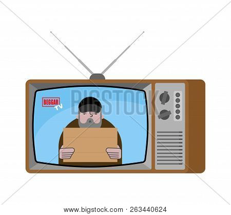 Beggar Tv News Old Television. Homeless Broadcasting Journalist. Pauper Anchorman In Tv Studio. Live