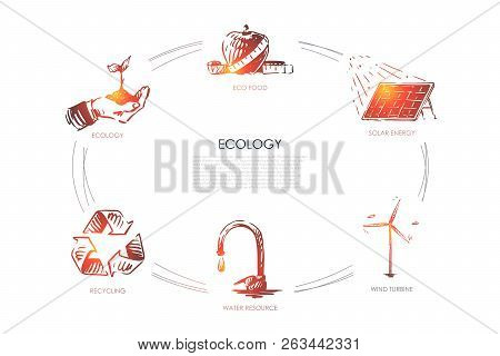 Ecology - Eco Food, Ecology, Solar Energy, Wind Turbine, Water Resourse, Recycling Vector Concept Se