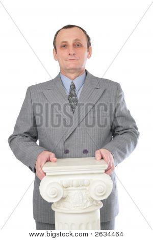 Man And Ancient Column