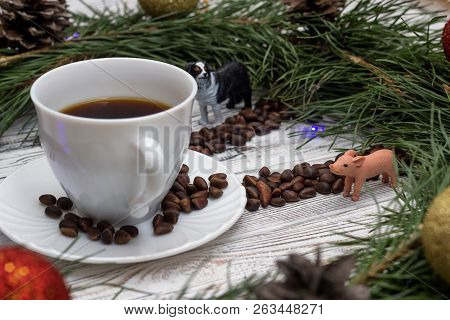 Christmas Clock Made Of Fir Branches, Clock Hands Of Pine Nuts, A Cup Of Coffee And Christmas Toys O