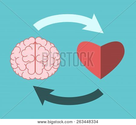 Brain And Heart Mutually Connected With Circular  Arrows On Turquoise Blue. Emotional Intelligence,