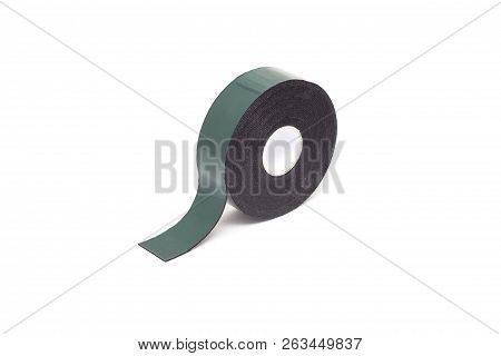 Reel Of Double-sided Tape On A White Background, Isolate, Green Double-sided Tape, Close-up, Materia