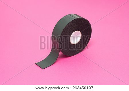 Reel Of Double-sided Tape On A Pink Background, Close-up, Double-sided Adhesive Tape, Element