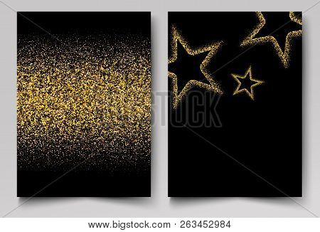 Vector Background With Gold Shiny Stars Gold Glitter