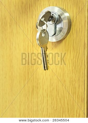 The key is in a door lock