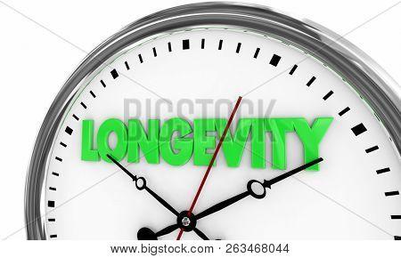 Longevity Lasting Over Time Clock 3d Illustration