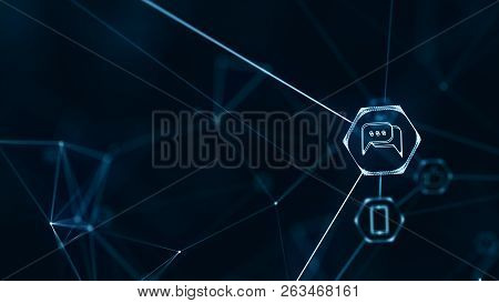 Social Network Connections Concept.internet Of Things (iot) Network With Connecting Lines.