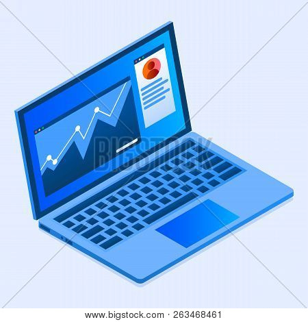 Finance Laptop Icon. Isometric Of Finance Laptop Vector Icon For Web Design Isolated