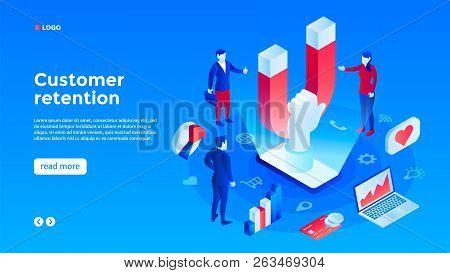 Client Retention Concept Background. Isometric Illustration Of Client Retention Vector Concept Backg