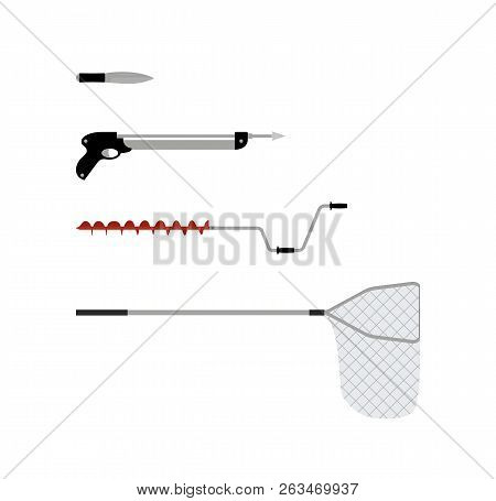 Fishing Tools Isolated On White Background Poster, Vector Illustration Of Special Equipment For Fish