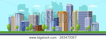 Big Modern City Illustration. Vector Cityscape Background. Urban Buildings, Skyscrapers Of Business