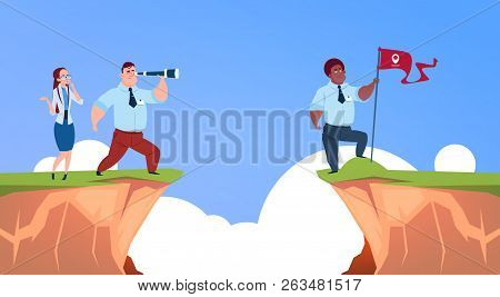 Businessman Looking Straight With Binocular On Business Man With Geolocation Flag Over Abyss Mountai