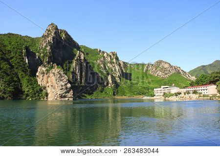 Mountains and Lake of clothing (Lake of Fish scales), Diamond Mountains, North Korea (DPRK)