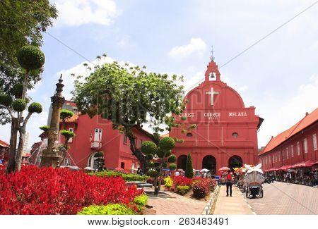Facade of protestant Christ Church on Dutch square, Malacca, Malaysia. UNESCO world heritage site