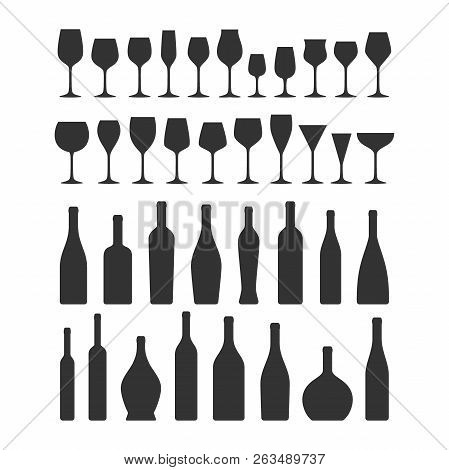 Various Types Wine Glasses And Bottles Icon Set. Wine Glass And Bottle Vector Black Silhouette Colle