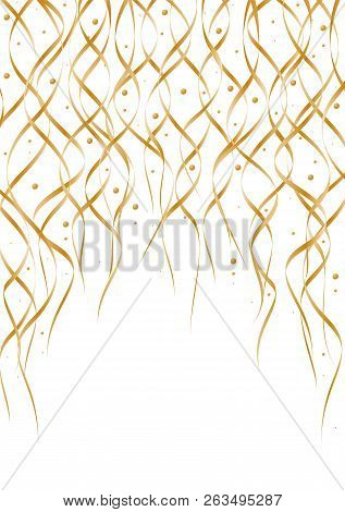Gold Falling Confetti And Curly Ribbons