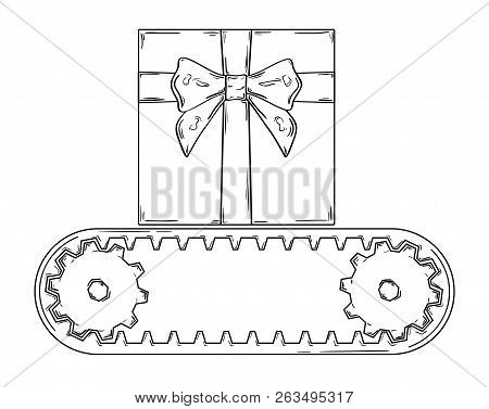 Sketch Of The Conveyer Belt And One Gift
