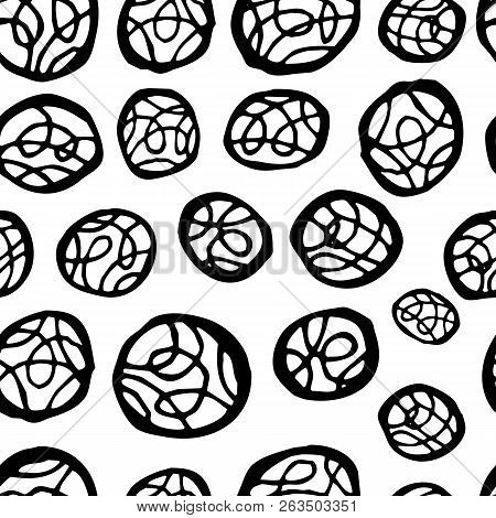 Seamless Vector Brush Stroke Pattern. Black And White Simple Geometric Wavy Lines Abstract Backgroun