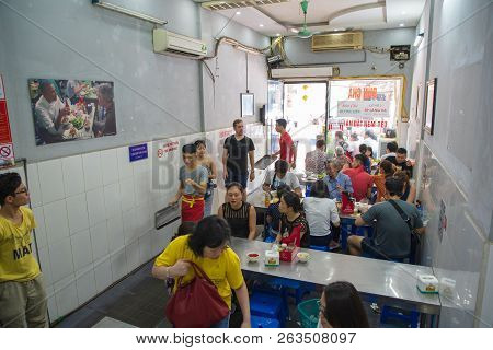 Hanoi/vietnam - July 29: Bun Cha With Grilled Pork, Rice Noodles, Vegetable And Soup In Vietnamese C