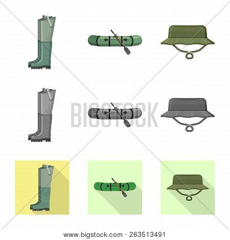 Vector Design Of Fish And Fishing Sign. Collection Of Fish And Equipment Vector Icon For Stock.