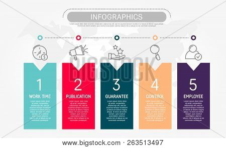Modern Flat Vector Illustration. Template Infographics With Five Elements, Rectangles. Contains Text