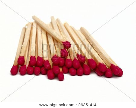 red wooden matches