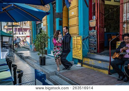 Buenos Aires, Argentina - 04 Octubre, 2018: tango in the tourist area of la boka in Argentina