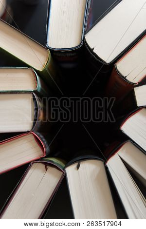 Books Placed Back To Back In A Circle