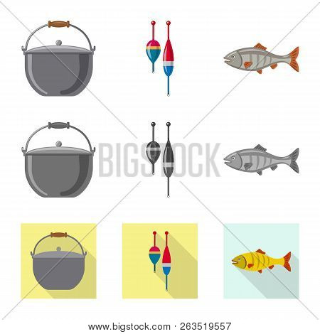 Vector Illustration Of Fish And Fishing Icon. Set Of Fish And Equipment Stock Vector Illustration.