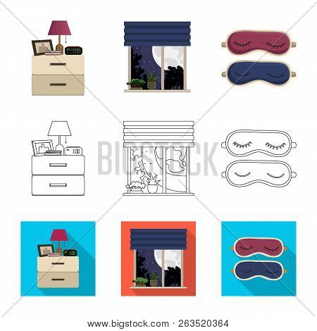 Vector Design Of Dreams And Night Sign. Set Of Dreams And Bedroom Vector Icon For Stock.