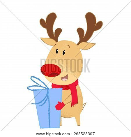 Happy Deer Holding Blue Christmas Present. Gift Box, Anticipation, Scarf. New Year Concept. Can Be U