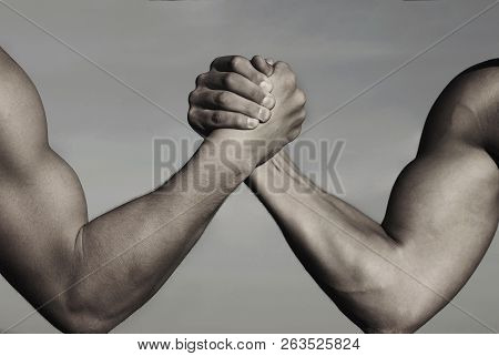 Rivalry, Vs, Challenge, Strength Comparison. Two Men Arm Wrestling. Arms Wrestling, Competition. Riv