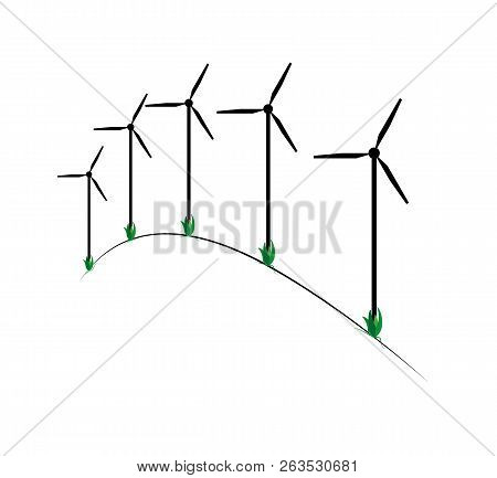 Illustration Of The Five Wind Power Plants On The Hill.