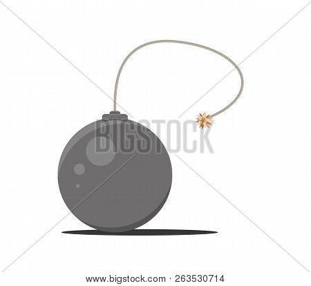 Black Bomb With Burning Wick