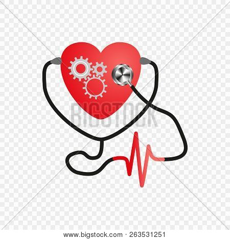 World Heart Day. Stethoscope Of The Heart. Gear Mechanism In The Heart. Artificial Heart. Vector Iso
