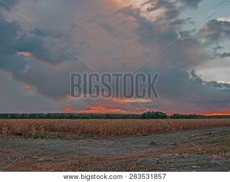 Dark Clouds In The Evening Sky. Evening Sky, Dark, Blue Clouds Hovering Over A Vast Space Of Meadows