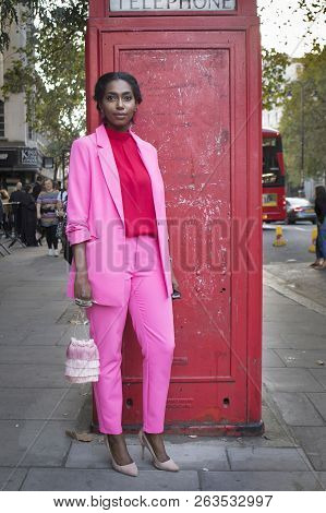 London, Uk- September 14 2018: People On The Street During The London Fashion Week. A Girl With Long