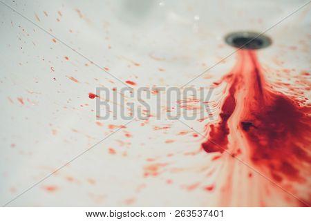 Blood In Basin, Blood And Washbasin In Bath Room, Concept Blood And Basin In Bath Room.
