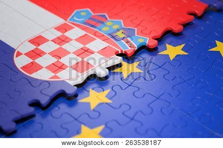 Flag Of The Croatia And The European Union In The Form Of Puzzle Pieces In Concept Of Politics And E