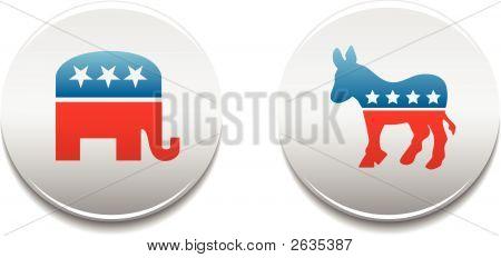 Democrat Republican Badges