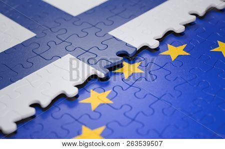 Flag Of The Finland And The European Union In The Form Of Puzzle Pieces In Concept Of Politics And E