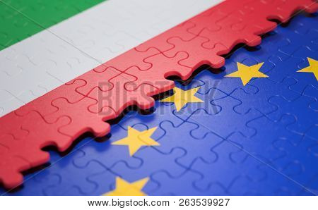 Flag Of The Italy And The European Union In The Form Of Puzzle Pieces In Concept Of Politics And Eco