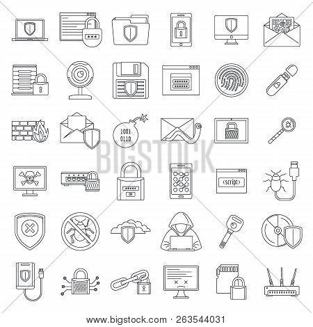 Internet Security Icon Set. Outline Set Of Internet Security Vector Icons For Web Design Isolated On