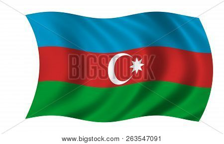 Waving Azerbaijan Flag In The Colors Blue, Red And White