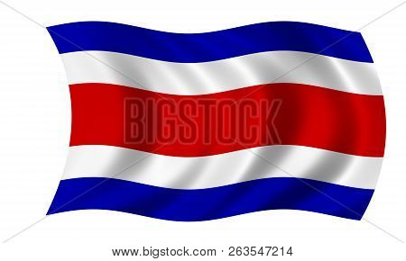 Waving Costa Rican Flag In The Colors Blue,red And White